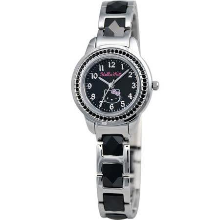 HELLO KITTY 璀璨晶鑽時尚陶瓷腕錶(LK608LWBA-SB)-黑/銀