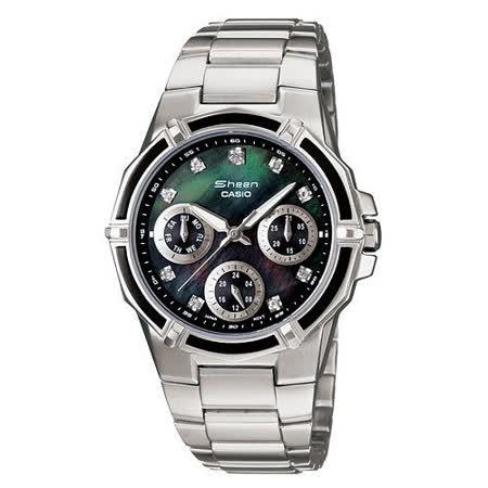 CASIO 三眼指針女性時尚腕錶 SHN-3015DP-1A