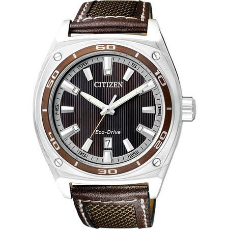 CITIZEN Eco-Drive 光動能時尚腕錶(AW1051-09W)-咖啡
