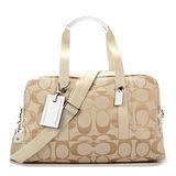 COACH 時尚休閒大容量肩背行李包(附背帶)-白/咖啡色