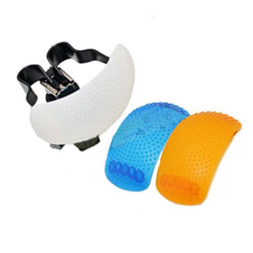 單眼相機內閃燈專用柔光罩(白、橘、藍三色組)