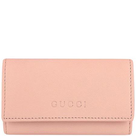 GUCCI 淺粉紅色真皮LOGO壓紋鑰匙收納夾