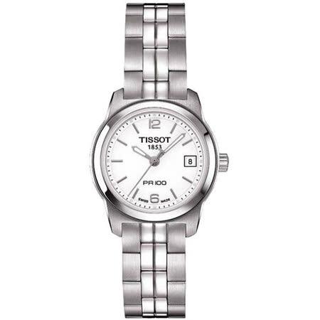 TISSOT PR100 經典復刻石英女錶(T0492101101700)-白/24mm