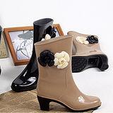 時尚氣質優雅中筒高跟女雨鞋