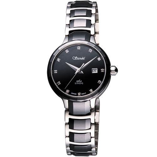 Standel 詩丹麗 美媛真鑽陶瓷腕錶(3S2622SDD)-黑/28mm