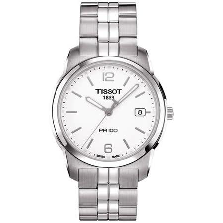 TISSOT PR100 經典復刻石英腕錶(T0494101101700)-白/38mm