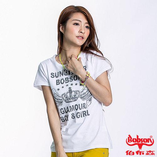 BOBSON 女款皇冠印圖短袖上衣^(白22132~80^)