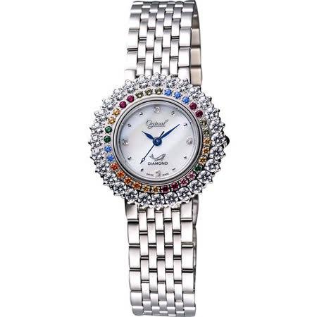 Ogival 愛其華 彩色薔薇真鑽腕錶(380-012DLS)-銀