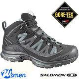 【索羅門 SALOMON】女款 輕量健走系列 XTEMPO MID GTX 防水透氣中筒登山鞋/黑/水藍 128677