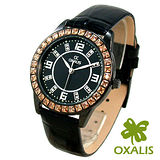 【Oxalis 酢漿草】魅力鑽框*輕熟時尚真皮革錶/黑
