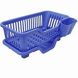 大容量三件式優質全塑排水式碗盤筷籠收納架(735515)
