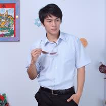 JIA HUEI 短袖柔挺領吸濕排汗防皺襯衫 3158細條紋 藍色 [台灣製造]