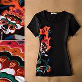 【韓系女衫】鯉書貼布繡修身短袖T恤(有大尺碼)