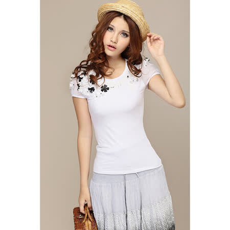 【韓系女衫】立體碎花個性夏裝短袖T恤(有大尺碼)