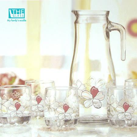 韓國THE Glass-優質小紅花玻璃水杯組