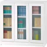 威尼斯3尺三玻璃門鏡面PU書櫃