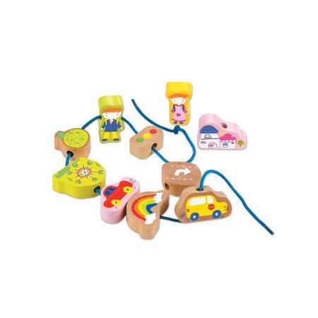 諾貝兒益智玩具【Classic world】客來喜-德國經典木玩 城市串珠(10pcs)  幼兒益智教具