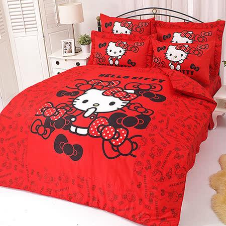 【享夢城堡】HELLO KITTY 我的小可愛系列-雙人純棉四件式床包薄被套組(粉)(紅)