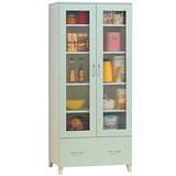 蘋果綠鏡面2.6尺雙門收納櫃/書櫃