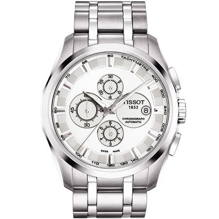TISSOT Couturier 建構師系列計時機械腕錶(T0356271103100)-銀/43mm