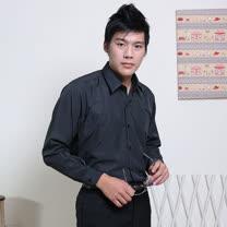 JIA HUEI  長袖柔挺領吸濕排汗防皺襯衫 黑色 [台灣製造]