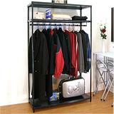 【超重型】三層91寬-沖孔鐵板網架(鑽石黑)吊衣架/吊衣櫥(單桿)-附布套16色可選