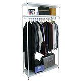 【超重型】三層91寬-沖孔鐵板網架(素雅白)吊衣架/吊衣櫥(單桿)-附布套16色可選