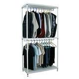 【超重型】三層91寬-沖孔鐵板網架(素雅白)吊衣架/吊衣櫥(雙桿)-附布套16色可選