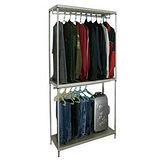 【超重型】三層91寬-沖孔鐵板網架(香檳金)吊衣架/吊衣櫥(雙桿)-附布套16色可選