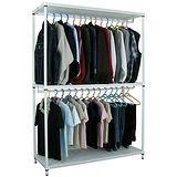 【超重型】三層121寬-沖孔鐵板網架(素雅白)吊衣架/吊衣櫥(雙桿)-附布套16色可選
