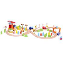 諾貝兒益智玩具【Classic world】客來喜-德國classic world 德國經典木玩大型交通軌道組(75pcs)