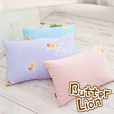 【奶油獅】正版授權~信封式標準枕通用純棉枕頭套(水藍2入+幻紫2入)