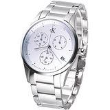 cK bold 時尚菁英三眼計時腕錶(鋼帶)