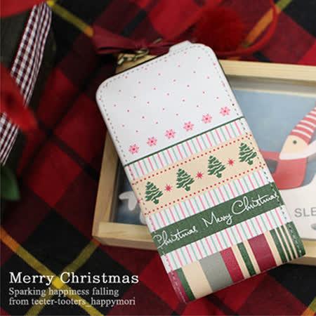 【Happymori】※☆merry christmas☆※直掀式手機皮套 適用iphone4s/4