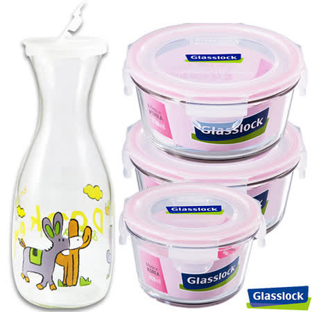 Glasslock強化玻璃微波保鮮盒 - 花暖春遊4件組