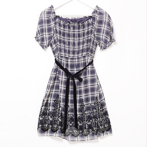 【ohoh-mini】格紋雪紡紗高腰孕婦上衣