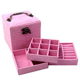 【iSFun】復古提盒仿兔絨三層首飾盒/粉