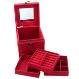 【iSFun】復古提盒仿兔絨三層首飾盒/紅