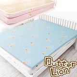 【奶油獅】冬夏兩用高磅數-天然涼爽竹青純棉透氣床墊(水藍)-單人加大3.5尺