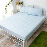J‧bedtime【漾彩-粉藍】雙人防汙床包式保潔墊