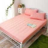 J‧bedtime【漾彩-粉橘】雙人防汙床包式保潔墊