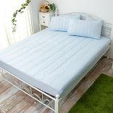J‧bedtime【漾彩-粉藍】加大防汙床包式保潔墊