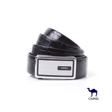 DF【包學院】CAMEL駱駝 - 鱷魚紋質感自動滑扣頭層牛皮皮帶