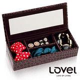 【LOVEL】經典鱷魚紋皮革收納家飾-有蓋附鏡4格珠寶盒(2色可選)