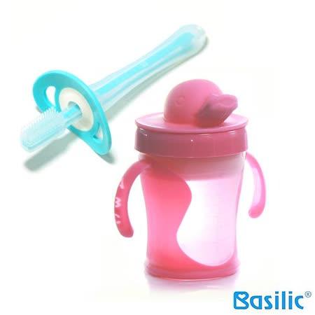 【貝喜力克】鴨頭握把水杯+矽膠牙刷