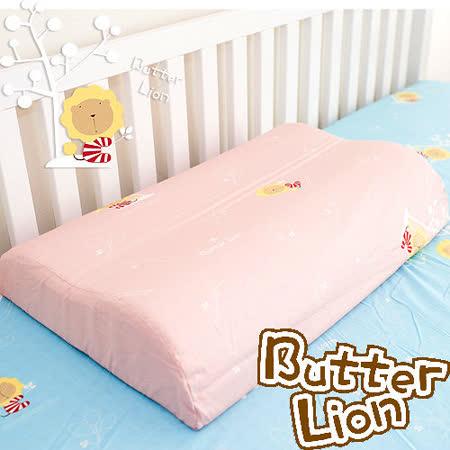 【奶油獅】正版授權~乳膠、記憶工學大枕專用100%純棉枕頭套(粉紅*2入)