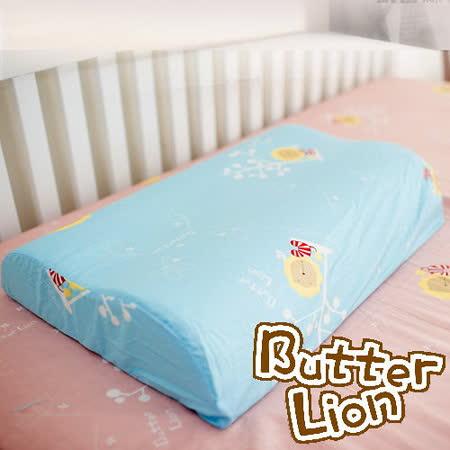 【奶油獅】正版授權~乳膠、記憶工學大枕專用100%純棉枕頭套(水藍*2入)