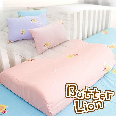 【奶油獅】正版授權~乳膠、記憶工學大枕專用100%純棉枕頭套(粉紅2入+水藍2入)