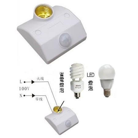 紅外線感應燈座~適用於(省電燈泡或LED燈)