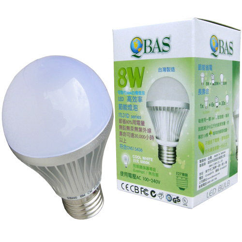 【QBAS】超節能-LED 8W燈泡-白光/黃光(二款可選)5入/組